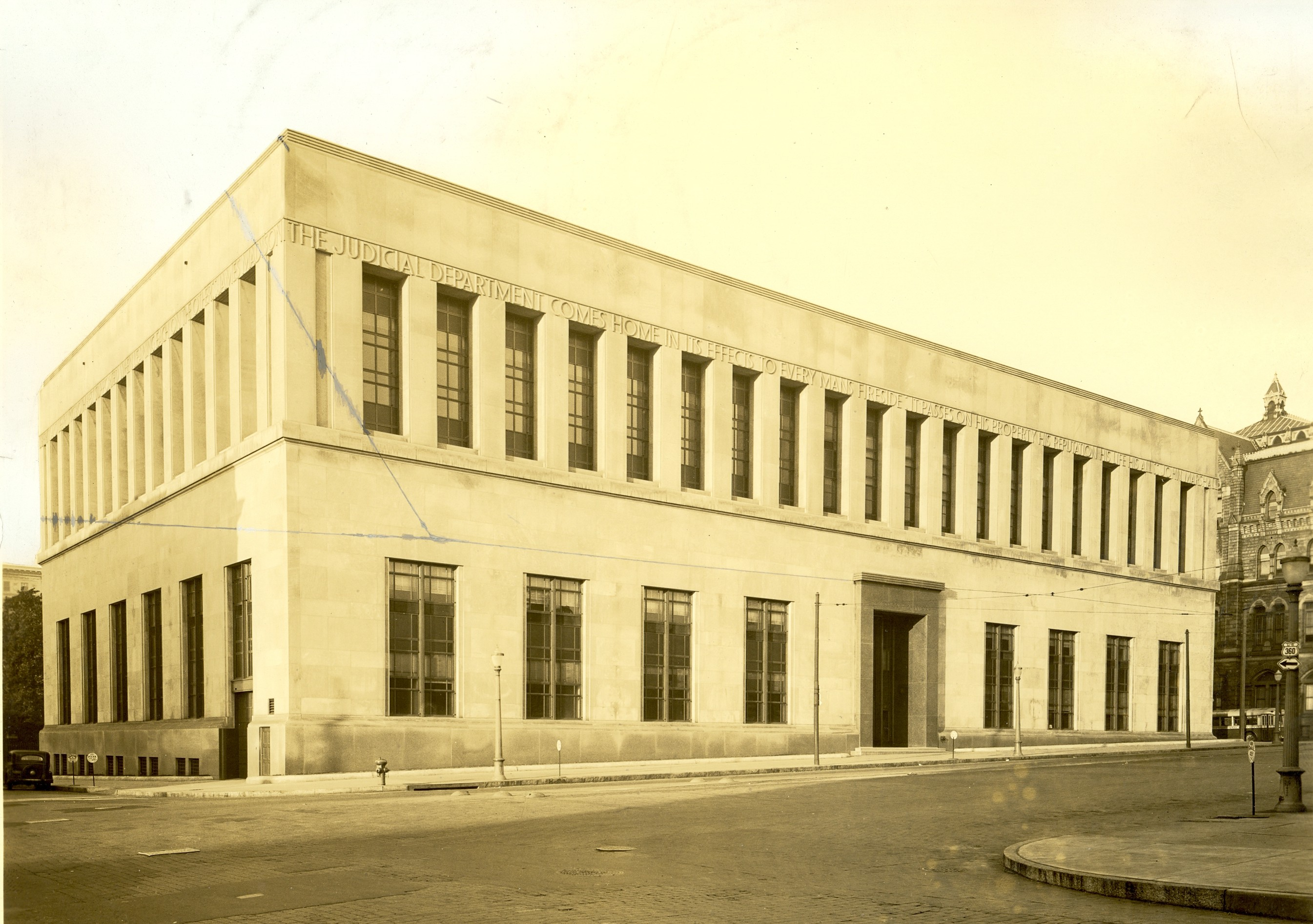 Photograph, circa 1940, of the Supreme Court of Appeals - State Library Building.  This structure, located on Broad Street north of Capitol Square,  housed the court from 1941 to 1981. It was renovated and renamed the Patrick Henry Building in 2005.