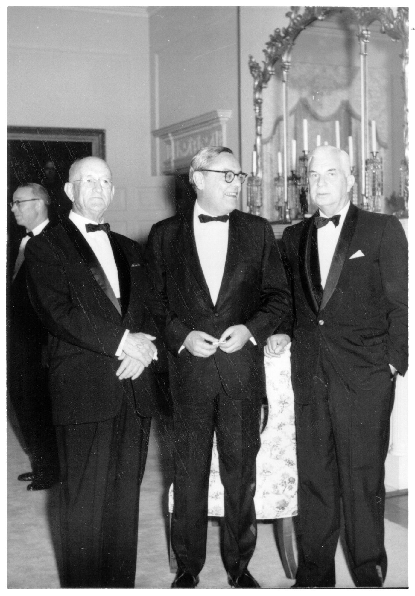 Retirement dinner guests: Justice Archibald C. Buchanan, Lieutenant Governor Fred G. Pollard, and Justice Albertis S. Harrison, 1969. Photograph courtesy of Dr. A. C. Buchanan and Tazewell County Public Library.