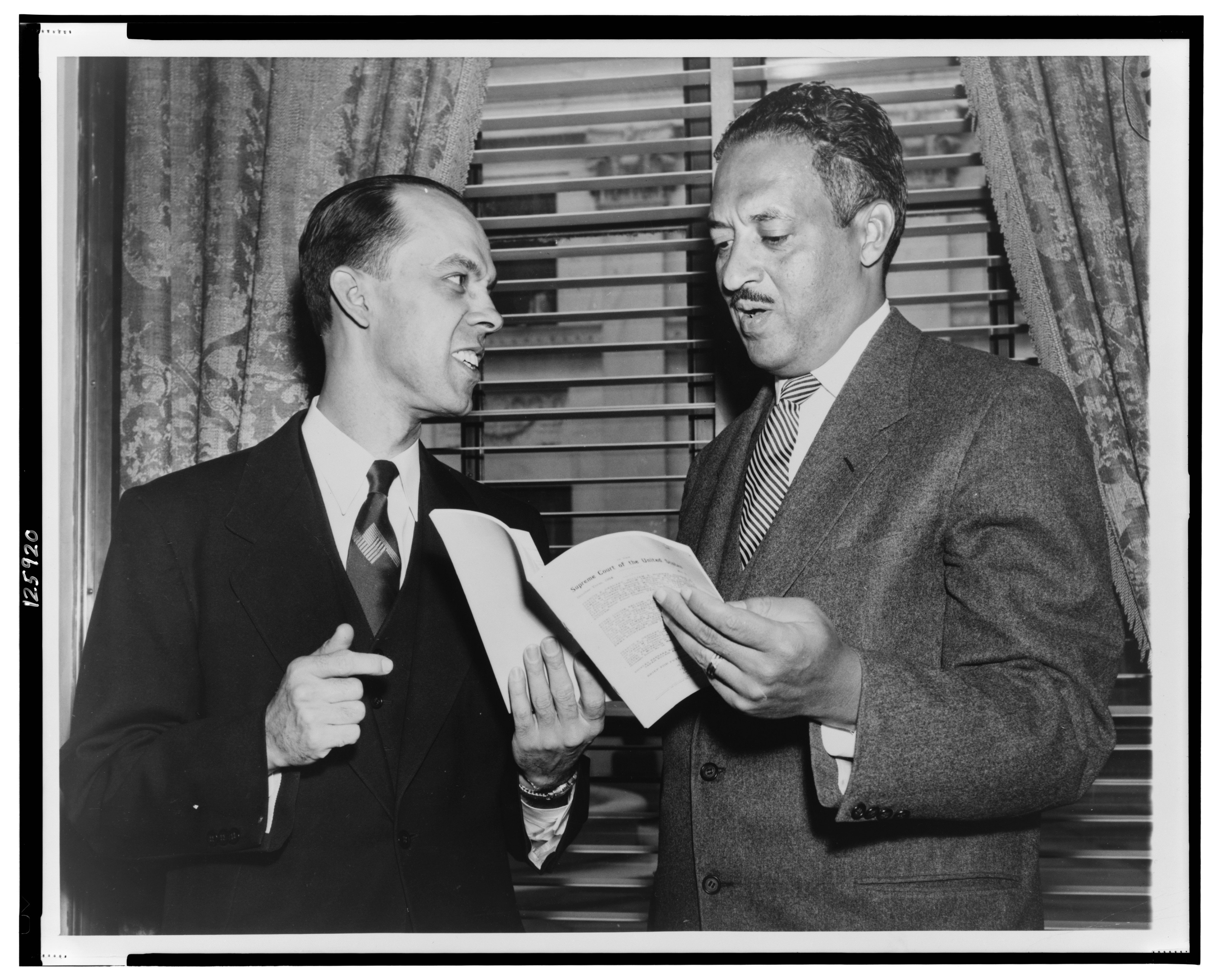 Spottswood W. Robinson III (left), and NAACP chief counsel Thurgood Marshall, half-length portrait, Brown v. Board of Education of Topeka, 349 U.S. 294, 1955, known as Brown II. Associated Press Photograph. Reproduced from the Collections of THE LIBRARY OF CONGRESS.