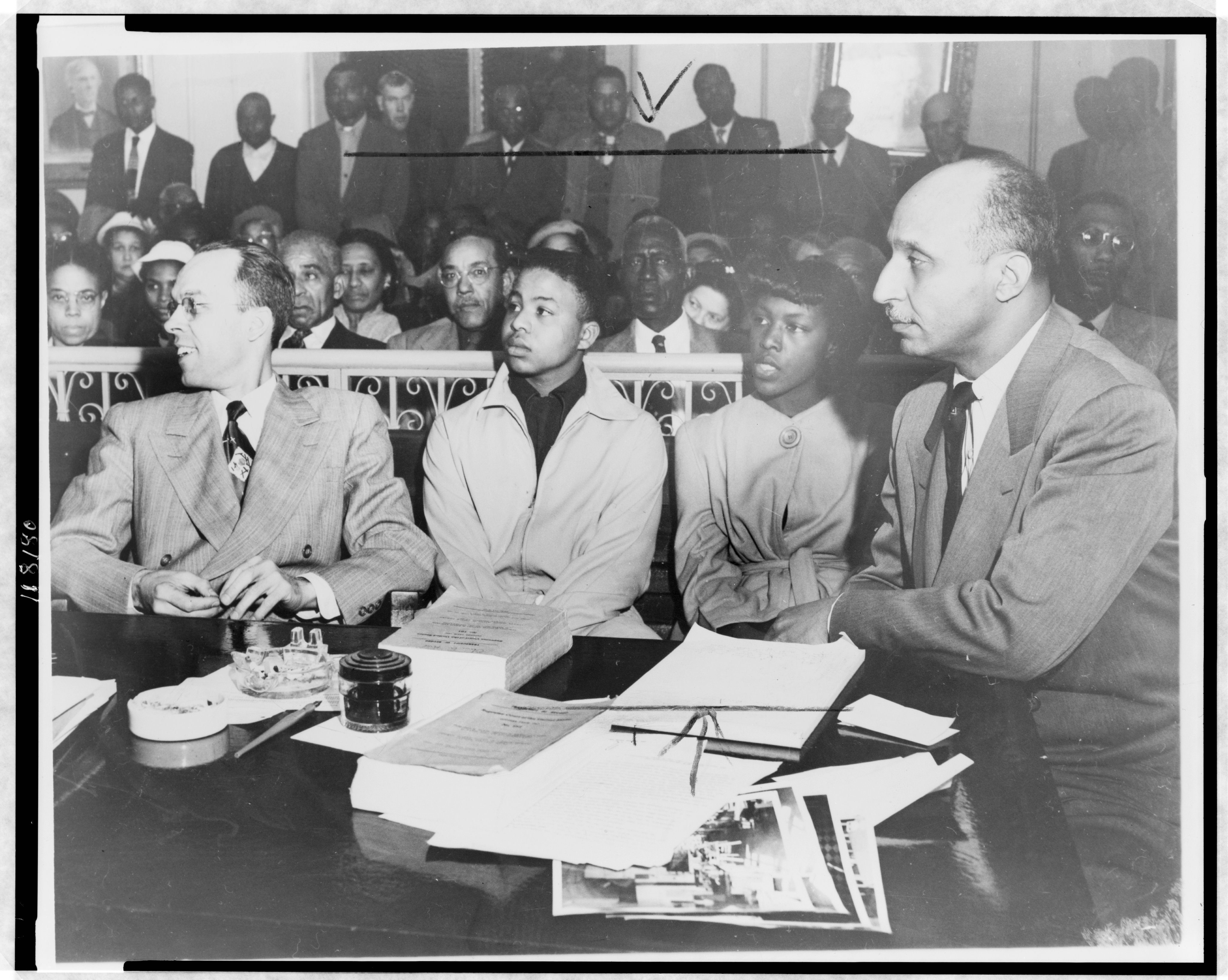NAACP counsel and students witnessing questioning pursued by the King William County Commonwealths Attorney on February 5, 1953, in circuit court, later decided in Commonwealth v. Dobbins, 198 Va. 697, 96 S.E.2d 154
