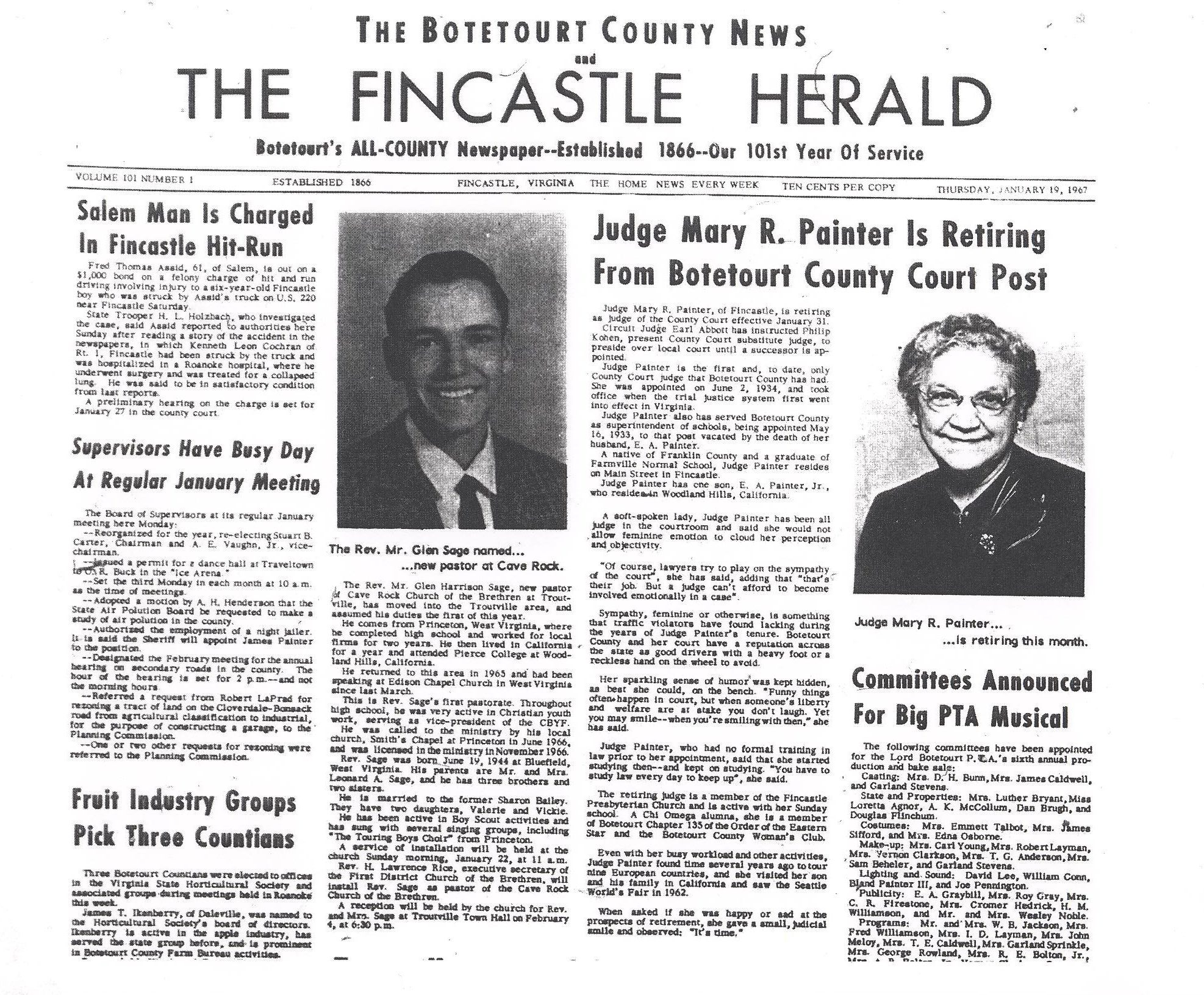 The Botetourt County News and The Fincastle Herald, January 19, 1967