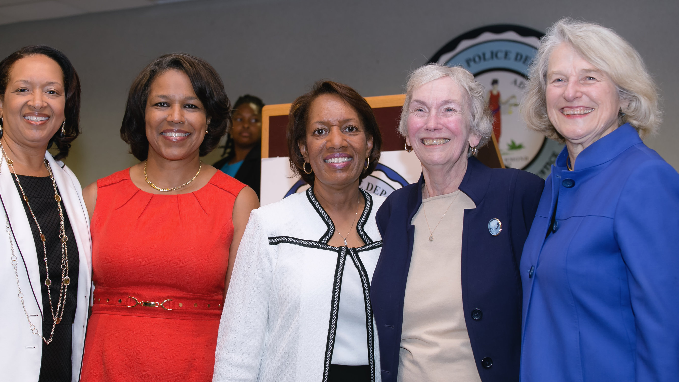 Richmond Juvenile and Domestic Relations Chief Judge Angela Roberts (second from left), Richmond Adult Drug Treatment Court Graduation Ceremony, June 20, 2014. Standing with Roberts, left to right: Richmond General District Court Judge Joi Taylor, Richmond Circuit Court Judge Margaret Spencer, RIchmond Juvenile and Domestic Relations Judge Audrey Franks, and Delegate Betsy Carr. Photo by/courtesy of Ava Reaves.